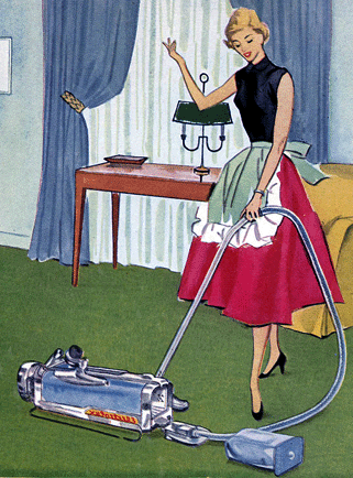 vacuuming tile floors vintage